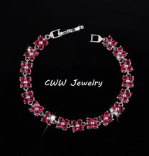 Bracelet. CWWZircons Pink Cubic Zircon Stones Four Leaves CZ Flowers - Songbird Deals