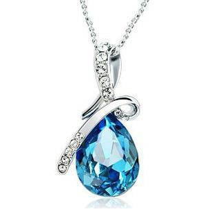 Pendant.  Austrian crystal angel tear design 925 sterling silver  femle necklaces jewelry - Songbird Deals