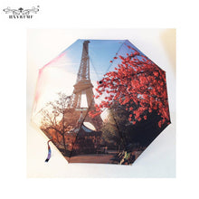 Umbrella. Eiffel Paris Tower Oil Painting Umbrellas Big 3 Folding Fashion Automatic Anti-UV Sun/Rain - Songbird Deals