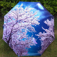 Umbrella. Oil Painting Arts Flowers And Full Moon  Decorative Umbrella - Songbird Deals