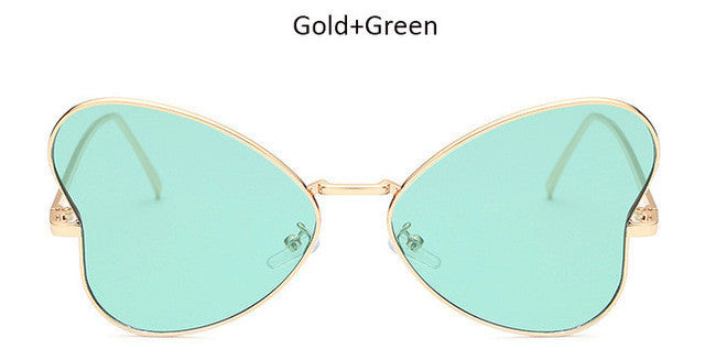 Sunglasses.  Butterfly Heart Shaped Flat Panel Rose Gold Sunglasses  UV400 - Songbird Deals