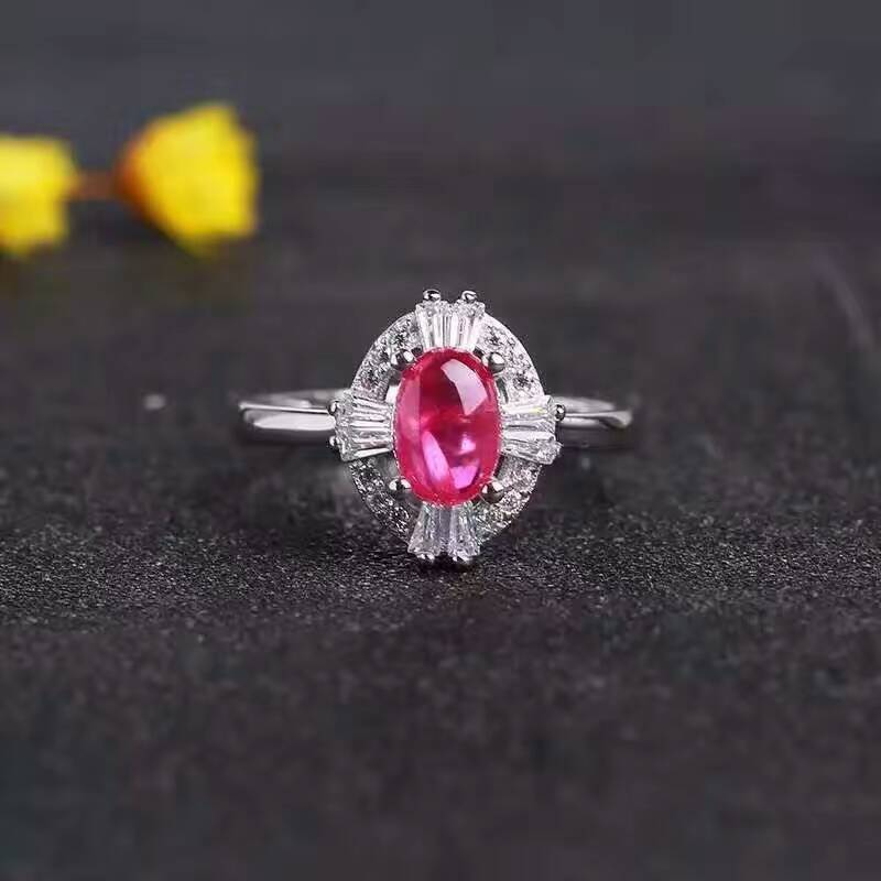 Ring. Natural red ruby gem Ring Natural gemstone ring 925 sterling silver trendy Elegant Sunflower Jewelry - Songbird Deals
