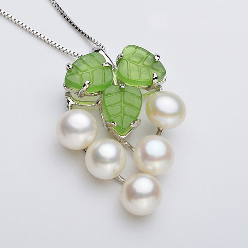 Necklace. Unique 925 Sterling Silver Chains Natural Freshwater Pearl Necklace Pendants For Women, Grape Shape Pendant - Songbird Deals