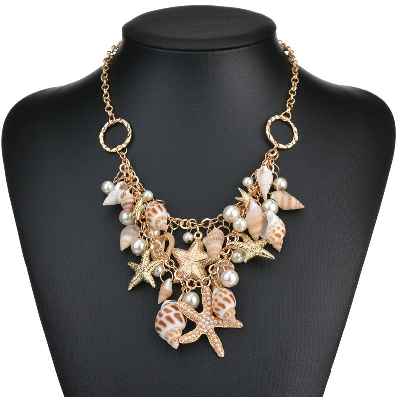 Choker.  Fashion  Big Bib  Choker Seashells Starfish simulated pearl Necklace - Songbird Deals