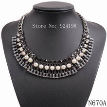 Necklace.  Chain Chunky Statement Crystal Pearl Pendant Necklace Choker For Women Collar - Songbird Deals