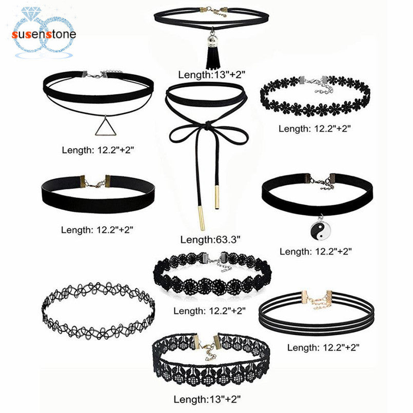 SUSENSTONE 10Pieces Choker Necklace Set Stretch Velvet Classic Gothic Tattoo Lace - Songbird Deals