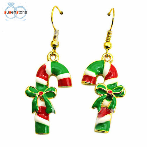 SUSENSTONE Fashion Christmas Candy Cane Earrings - Songbird Deals