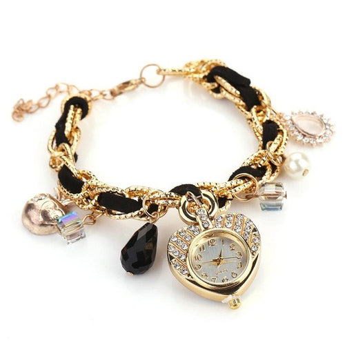 Watch. Butterfly Heart Shaped Watches Pearl Crystal Dress Watch Women Fashion Quartz Wrist Watch - Songbird Deals