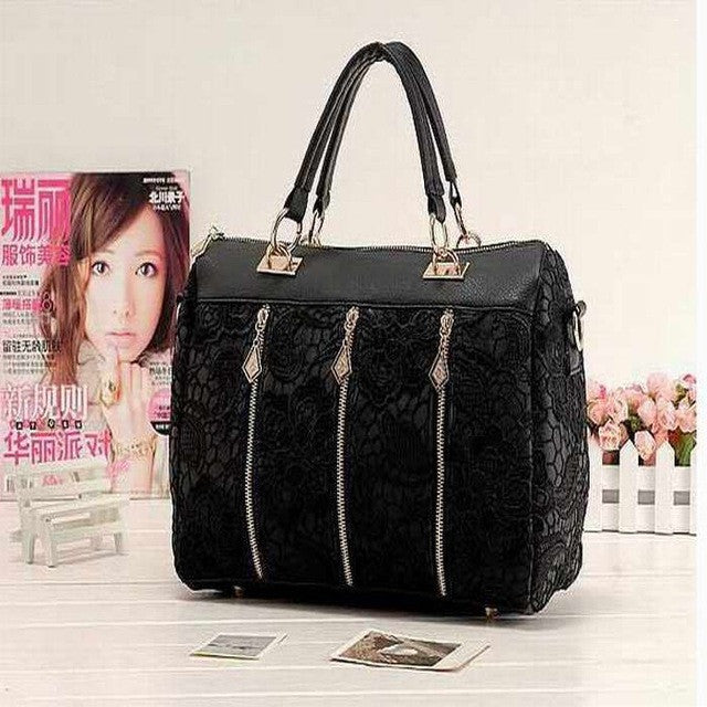 Handbags Fashion Women PU Leather Messenger Bag Tote Shoulder Bag Lace Handbag - Songbird Deals