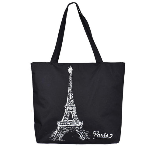 Tote Canvas Bag. Shoulder Bags Tower Pattern Black Color  Shopping Hand Handbag Desgin Bags - Songbird Deals