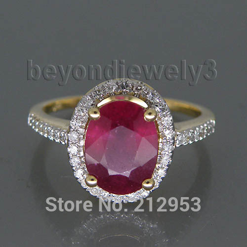Ring. 3.12ct Solid 14Kt Yellow Gold Ruby Wedding Ring, Diamond Natural Red Ruby Ring For Sale R0014 - Songbird Deals