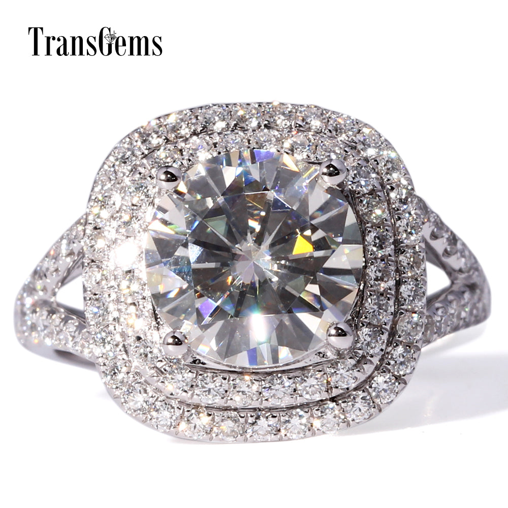 TransGems 3 Carat Lab Grown Moissanite Diamond Wedding Halo Ring Lab Diamond Accents Solid 14K White Gold Women Band - Songbird Deals