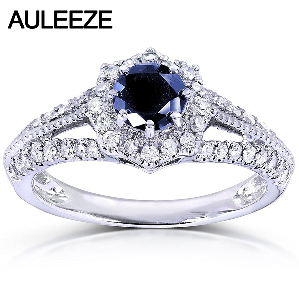 0.8 Carat Sapphire Floral Ring in 14K White Gold Natural Sapphire Vintage - Songbird Deals