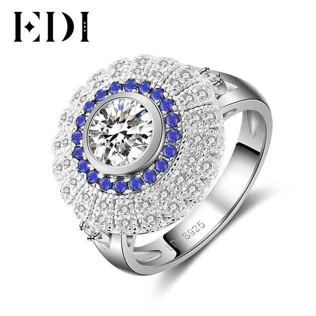 EDI Luxury Natural Sapphire 0.8ct Moissanites Diamond 14k 585 White Gold Wedding Ring For Women Bands Best Fine Jewelry - Songbird Deals