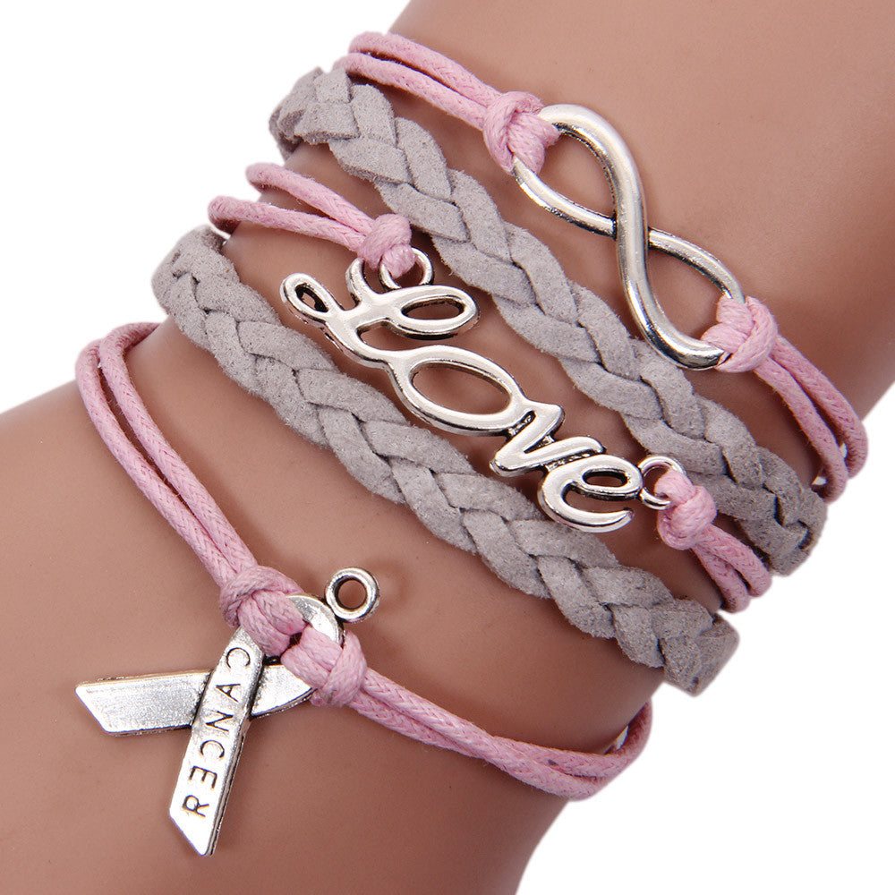 Lnfinity Love Charm Braided Leather Awareness Ribbon Bracelet - Songbird Deals