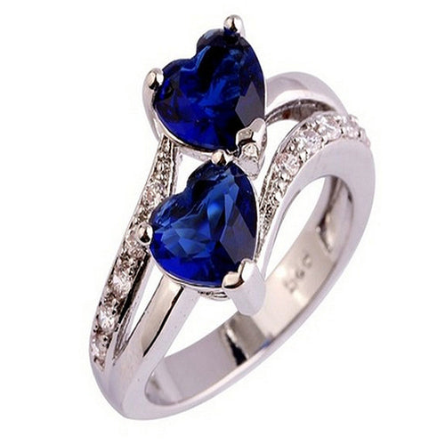 Fashion Lover Jewelry Heart Cut Sapphire & Ruby Gemstone Silver Ring - Songbird Deals