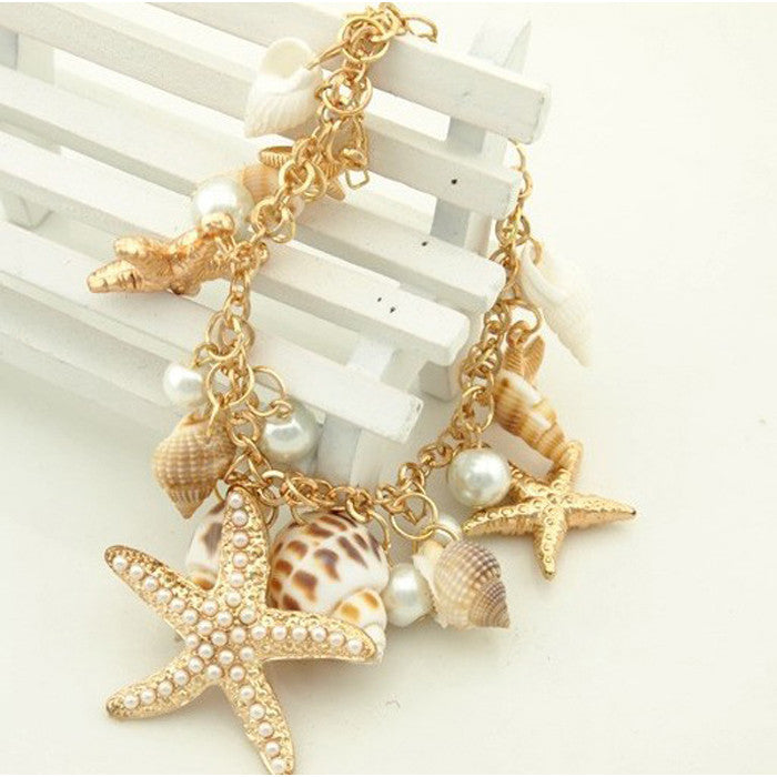 Bangle. Ocean Sea Shell Starfish Faux Pearl Bracelets Bangles Pendant Jewelry - Songbird Deals