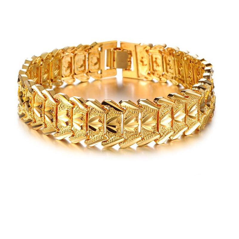 Jewelry Wholesale Fashion Jewelry Plated 18K Gold Men's Gold Bracelet - Songbird Deals