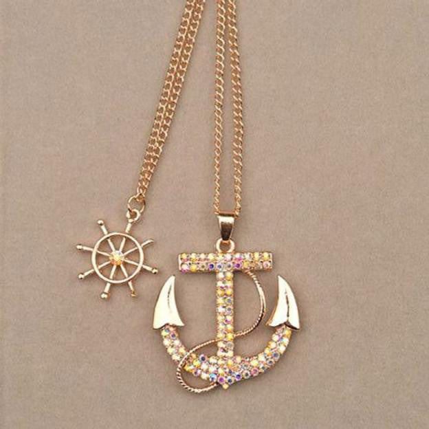 Necklace. Fashion Women Crystal Anchor Pendant Long Sweater Chain Necklace - Songbird Deals