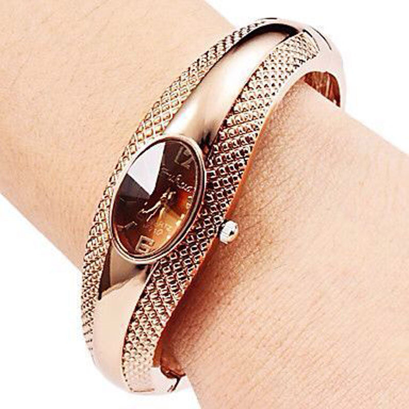 Watch. Fashion Golden Oval Quartz Watch Lady Cuff Bangle Bracelet Wristwatch - Songbird Deals