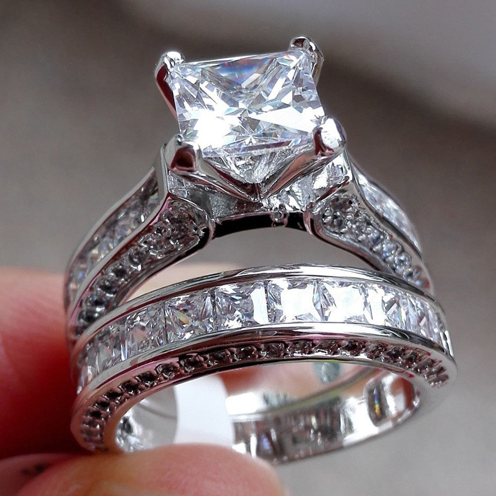 Ring. 2-in-1 Womens Vintage White Diamond Silver Engagement Wedding Band Ring Set - Songbird Deals