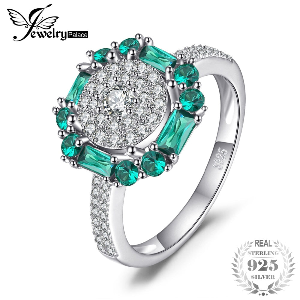 Ring. Jewelry Palace 1ct Created Emerald Ring 100% Real 925 Sterling Silver Vintage Fine Jewelry Rings Gift birthday - Songbird Deals