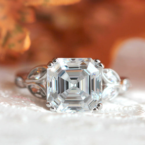 Asscher Cut 14k White Gold 3ctw DF Engagement Wedding Lab Grown Moissanite Diamond Halo Ring Test Positive Lab Grown Diamond - Songbird Deals