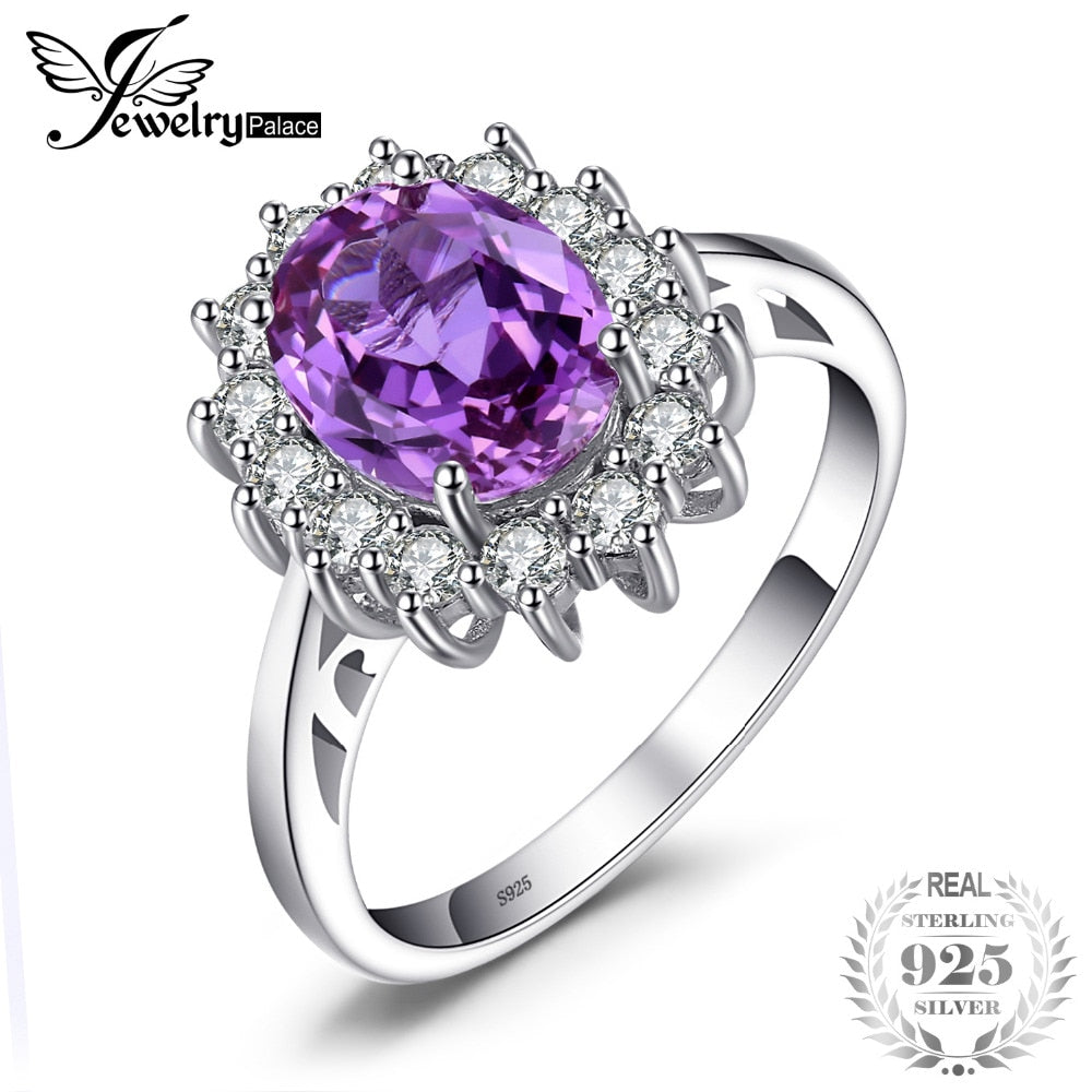 Jewelry palace Princess Diana 3.22 ct Created Alexandrite Sapphire Wedding Rings  925 Sterling Silver Brand Fine Jewelry - Songbird Deals