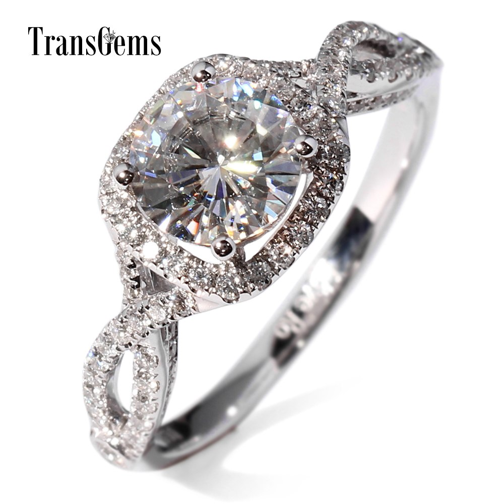 Rings. Wedding rings round brilliant cut 1.5 Carat Lab Grown Moissanite Diamond with moissanite Accents White Gold ring - Songbird Deals