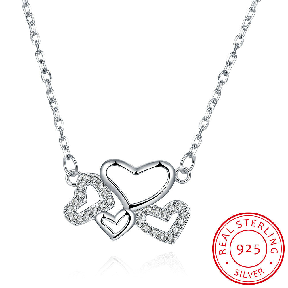 Pendant. S925 Silver Necklace Multi-Heart Necklace - Songbird Deals