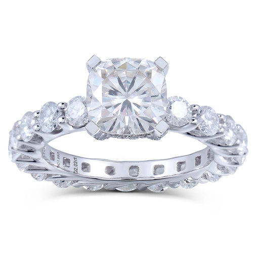Ring. 2 Carat Cushion cut Lab Grown Moissanite DiamondBand  14K White Gold - Songbird Deals