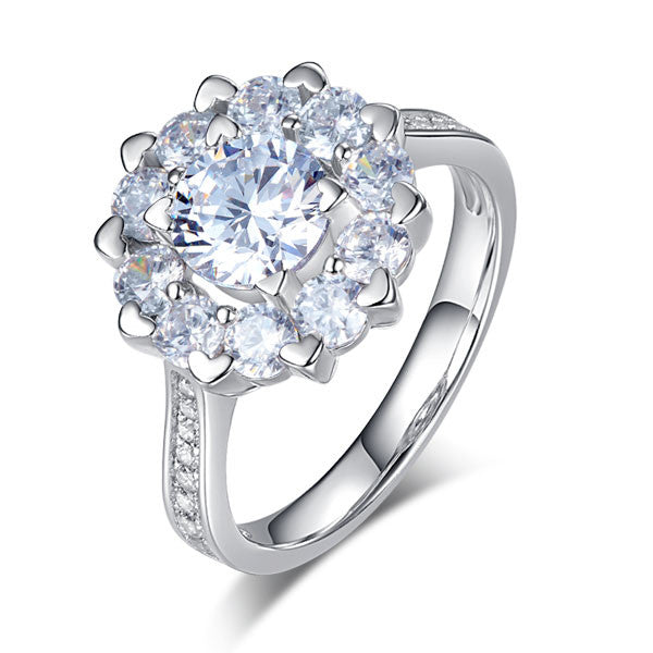 Ring. Snowflake 925 Sterling Silver Wedding Promise Anniversary Ring 1 Ct Simulated Diamond - Songbird Deals