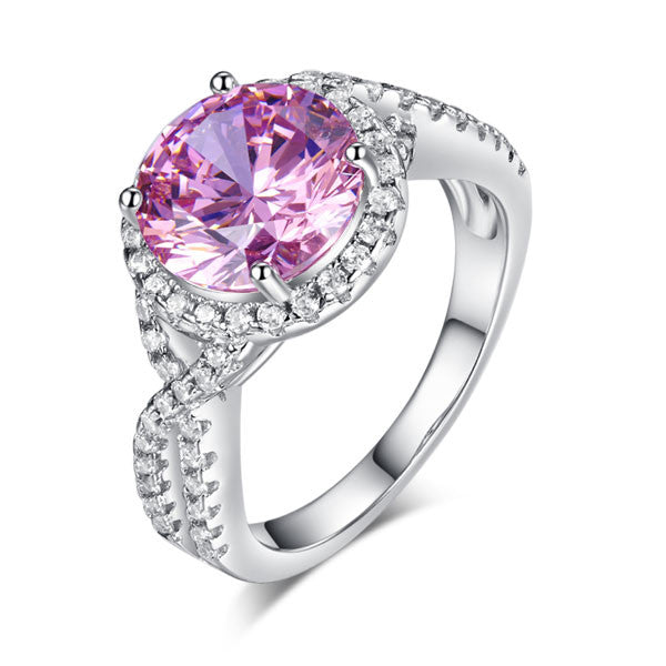 Ring. 3 Carat Fancy Pink Simulated Diamond 925 Sterling Silver Wedding Engagement Luxury Ring Promise Anniversary - Songbird Deals