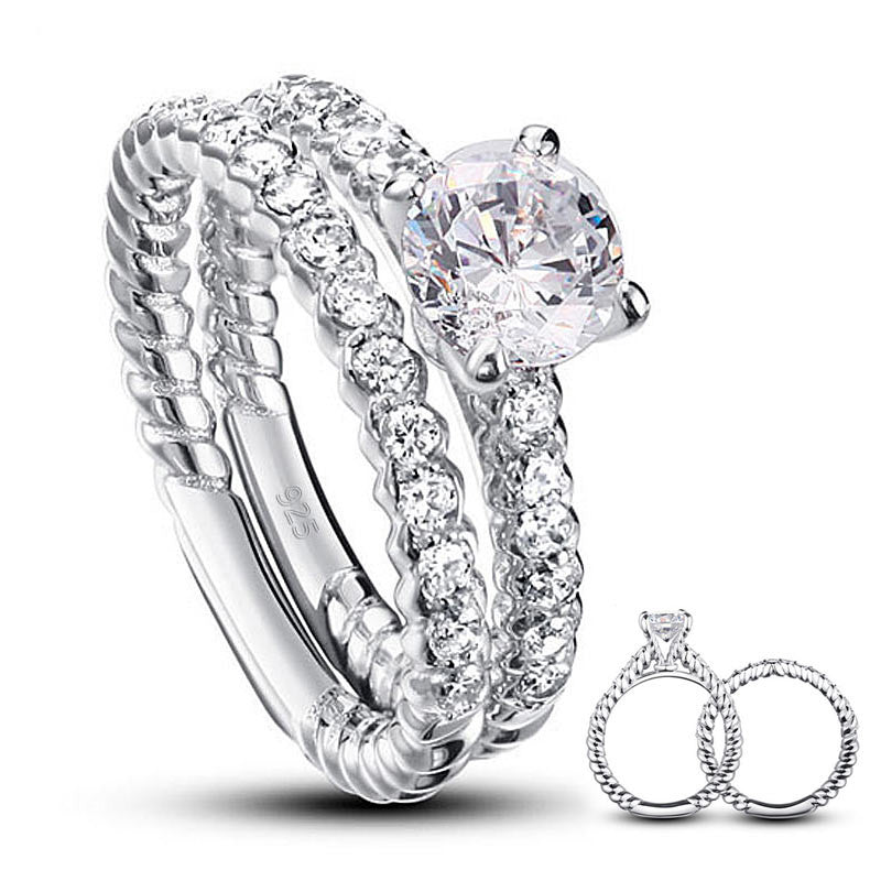 Ring. Simulated Diamond 925 Sterling Silver 2-Pcs Wedding Engagement Ring Set - Songbird Deals