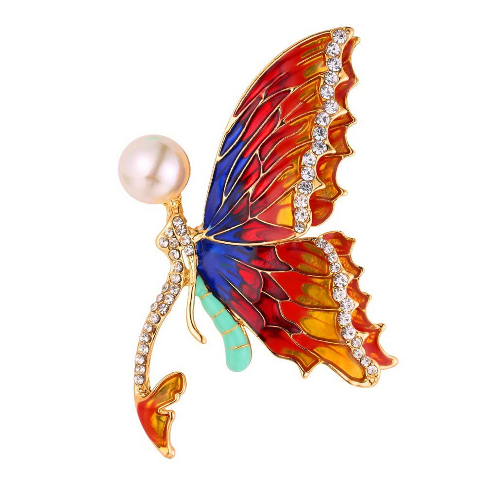 Brooch. U7 Luxury Colorful Butterfly Rhinestone Brooches Women Jewelry Pearl I - Songbird Deals