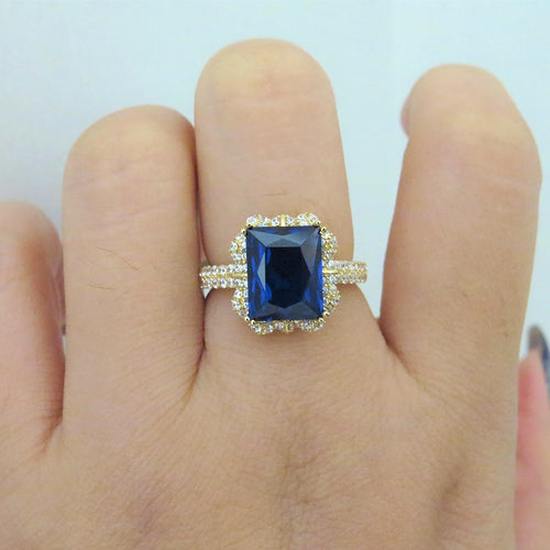 14k Yellow Gold 3.79ct Lab Sapphire Women Ring with Moissanite Lab Diamond Setting 2018 New Fine Jewelry Wedding Band Engagement - Songbird Deals