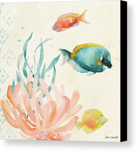 Art. Tropical Teal Coral Medley II Canvas Print by Lanie Loreth - Songbird Deals