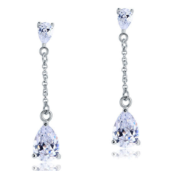 Earrings. 4 Carat Simulated Diamond Pear Cut Dangle Drop Sterling 925 Silver Earrings - Songbird Deals