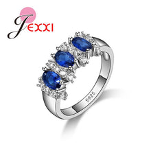 Jemmin Fine 925 Sterling Silver Blue Sapphire Wedding Engagement Ring - Songbird Deals
