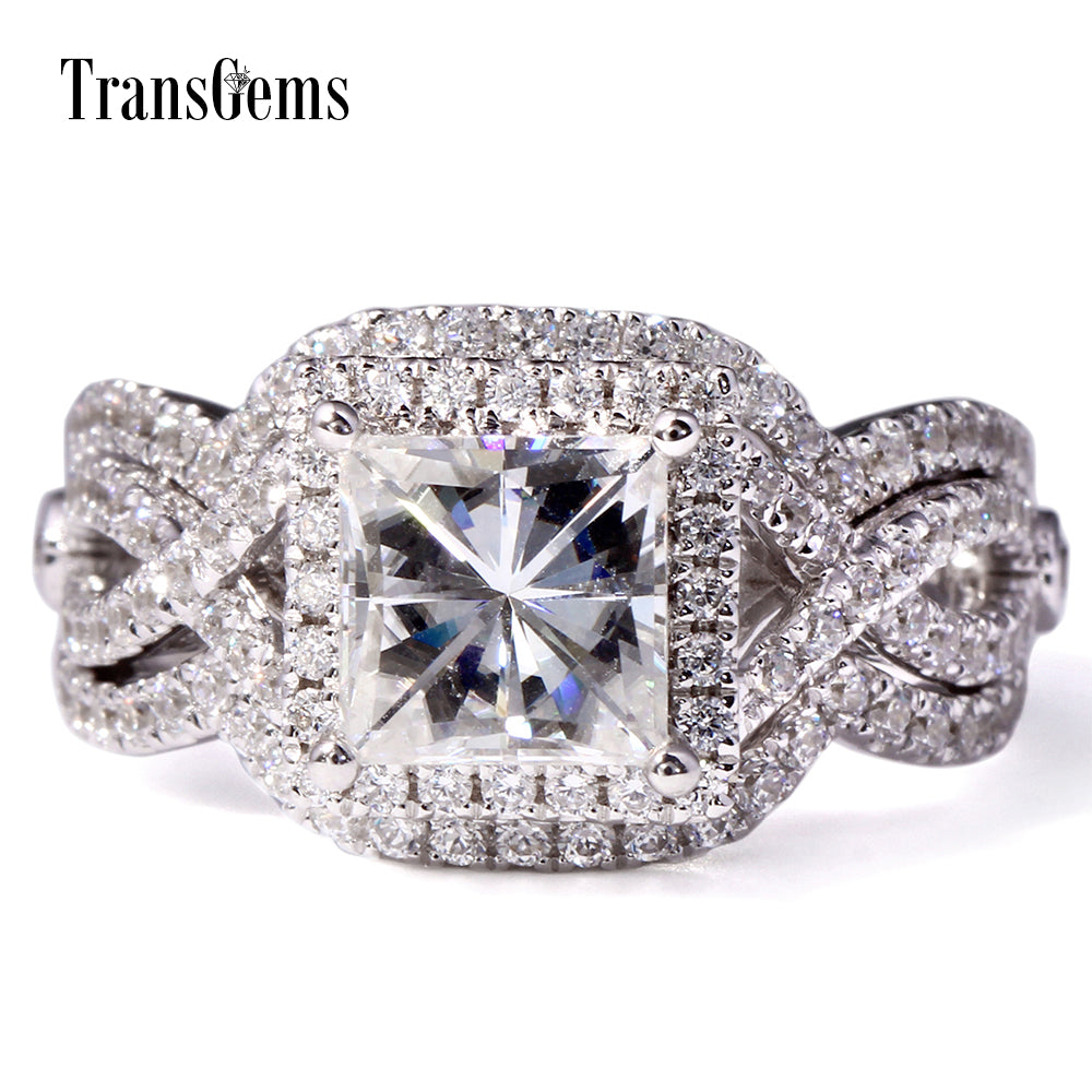 Transgems 2.6 Ctw FGH Moissanite With moissanite accents Engagement Ring Set For Women Princess Cut Square Freeshipping - Songbird Deals