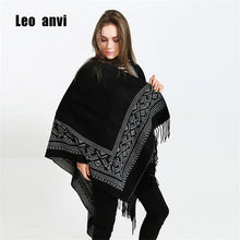 winter poncho black gray tassel towel wrap shawl Decorative blanket scarf