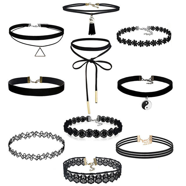 OTOKY 10 Pieces Choker Necklace Set Stretch Velvet Classic Gothic Tattoo Lace Choker  For gift Drop Shipping Jan24 - Songbird Deals