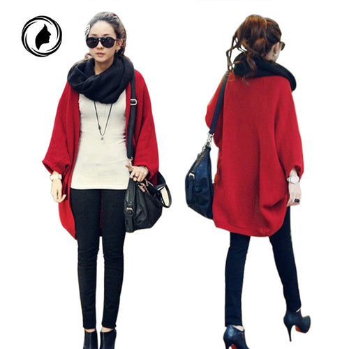 Autumn Cardigan jumper Casual Shawl Batwing Sleeves Cape Knit Sweater Coat Woolen Cardigan - Songbird Deals