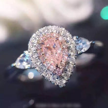 Genuine high quality luxurious Pink drop shaped carat simulation Moissanite ring Woman's wedding or Engagement Ring - Songbird Deals
