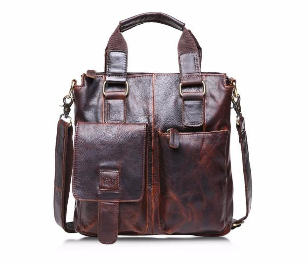 Vintage Buffalo Leather Messenger Satchel Laptop Briefcase Men's Bag Crazy Brown - Songbird Deals