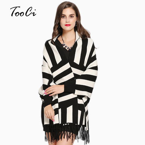 Autumn Winter White Tassel Poncho Cardigan Scarf Shawl Ladies Stripe Knit Cashmere Poncho And Capes - Songbird Deals