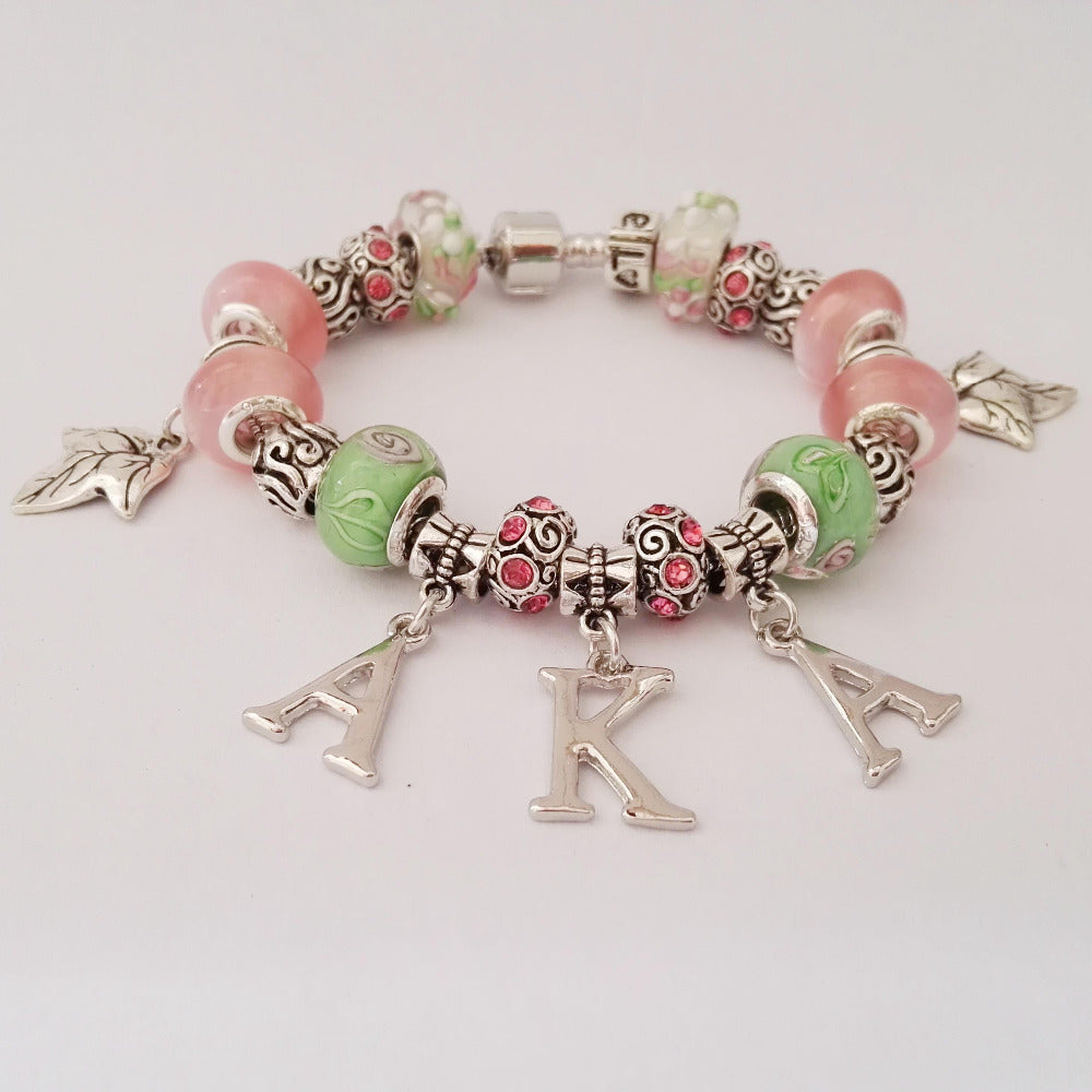 AKA Sorority  letter  charm bead bracelet bangle  Jewelry  AKA Ivies bracelet - Songbird Deals