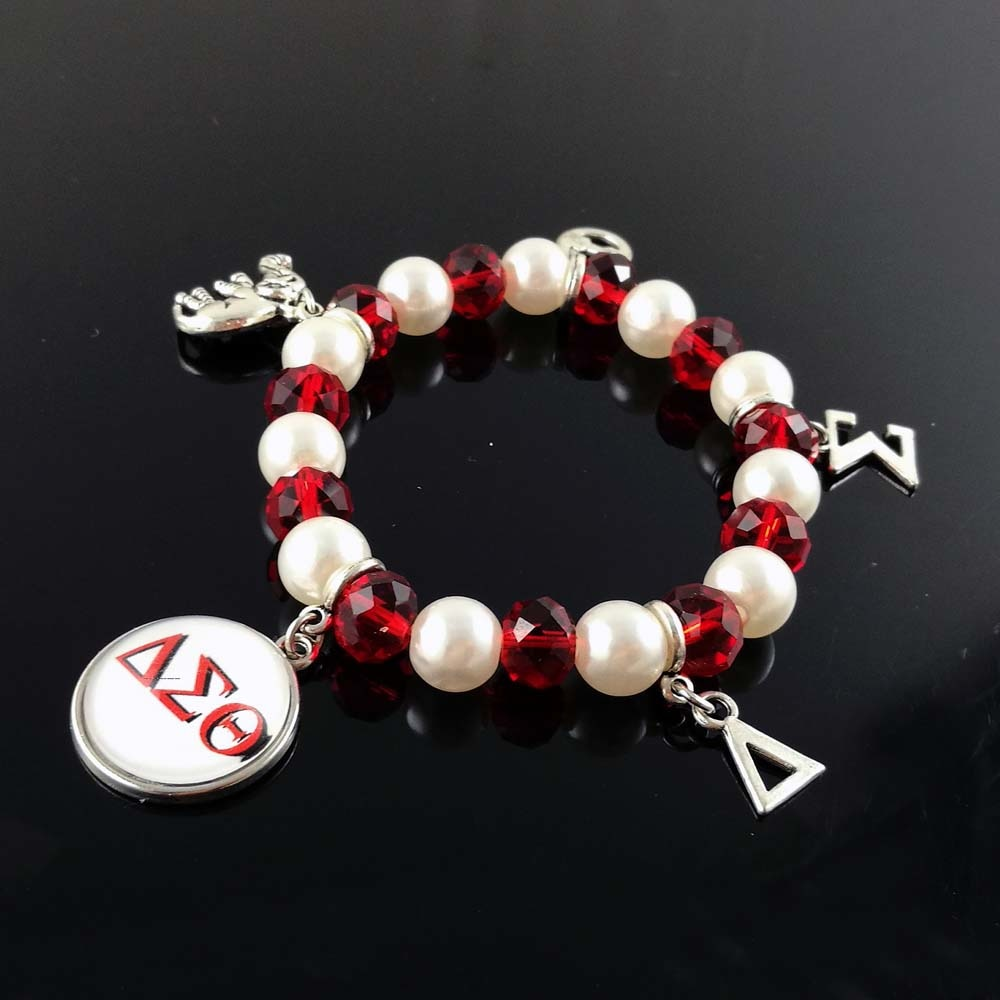 Delta Sigma Theta Sorority  DST  Greek  White Pearl Red crystal  cutom DIY charm elastic Bracelet Jewelry - Songbird Deals