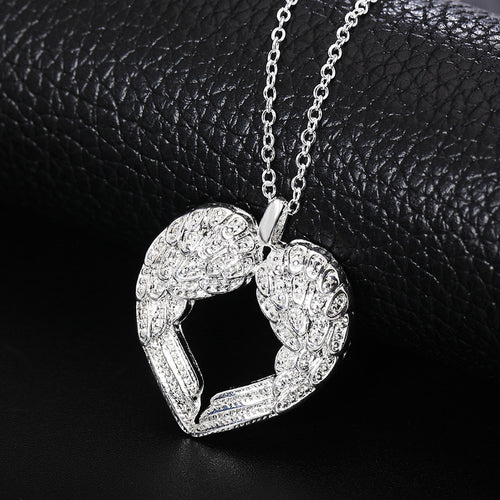 Angel wings. Silver plated jewelry charm Angel wings heart pendant pretty Lady Necklace N357 Kinsle - Songbird Deals