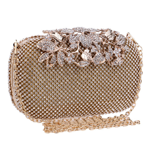 Handbag, Flower Crystal Evening Bag Clutch Purse Rhinestones  Silver/Gold/Black Evening Bag - Songbird Deals